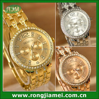 Geneva Rhinestone quartz stainless steel watch water resistant women watch