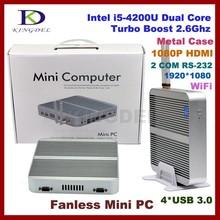 4GB RAM+64G SSD core i5 4200u fanless small industrial computer,Intel HD 4400 Graphics,2*COM RS232,4*USB 3.0,HD,HTPC nettop