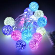 20 LED COTTON BALL FAIRY LED STRING LIGHTS WEDDING PARTY PATIO CHRISTMAS DECOR