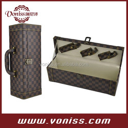 Exquisite vintage luxury elegant gift box custom bottle leather wine carrier with three wine tool set