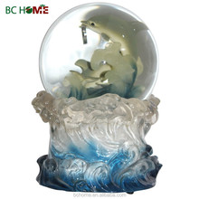 Clear resin dolphin snow globes crafts for boutique gift
