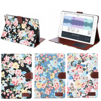 New Arrival Flower Print Leather Wallet Case for iPad Mini 4,Case for iPad Mini Leather