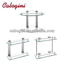 dual tier bathroom glass shelves