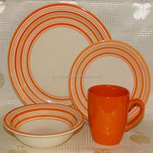 16 piece dinnerware sets circle edge dots stoneware crockery sale made in china