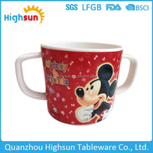 Cute cartoon picture full print unbreakable melamine plastic printed mug cup with 2 handles