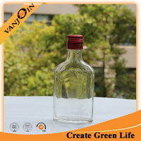 200ml Empty Flat Liquor Glass Spirit Bottle With Cap