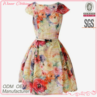 2014 latest fashion flora printed easy wear clothing with square neck