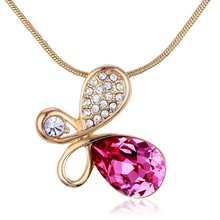 OUXI supply 18k gold plated crystal jewelry fashion necklace, crystals from Swarovski