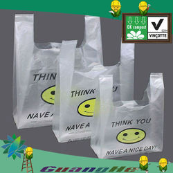 T-shirt biodegradable plastic shopping bags /Custom logo biodegradable bag
