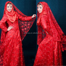 2015 Red Muslim Wedding Dresses With The Veil A-Line Lace Beaded Applique Long Sleeves Lace Formal Evening Dressess FM01