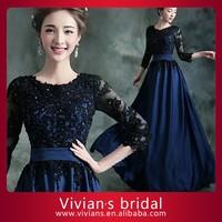 Vintage Evening Dress Long Sleeves Appliqued Scoop Neckline Floor Length Muslim Evening Dress ED83
