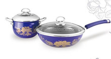 Nice round high quality enamel cast iron cookware sets with handles/frying pan+saucepan