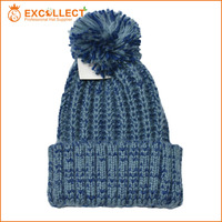 Wholesale Fashion Ladies Blending Colors Crochet Acrylic Knitted Hat With Tassel