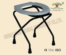 folding steel bedside commode with detachable bedpan