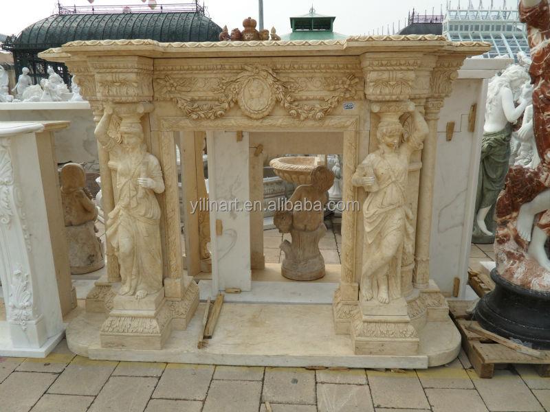 Repisa de la chimenea de piedra blanca de mármol para la ...