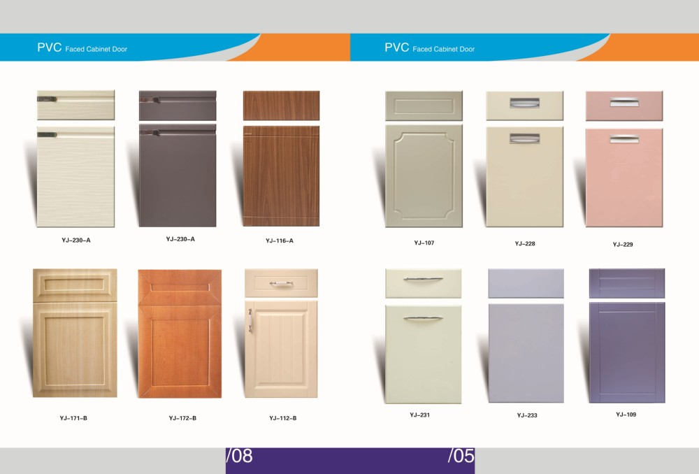 Modern Style Solid Color Pvc Cabinet Door And Drawer Front View