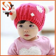 2015 new design christmas winter knitted kids handmade crochet baby animal antler wollen hat