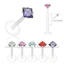 flexible acrylic lip ring with square zircon body piercing jewelry--SM12072078