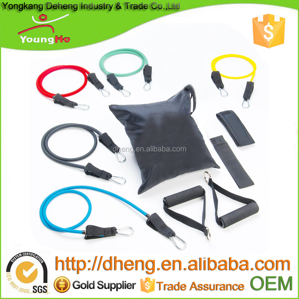10PCS Natural Latex Resistance Bands With Door Anchor, Ankle Strap, and Carrying Case Yoga Pilates Abs Exercise Tube Workout Fit