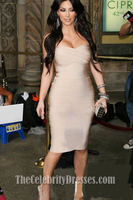 Kim Kardashian's Figure Hugging Strapless Bandage Cocktail Dress