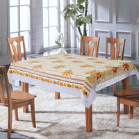 """New designed friendly pvc printed tablecloth with 3"""" lace border"""