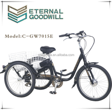 "24"" E-Trike/electric tricycle for disabled/Motorized Shopping Tricycle for sale/Motor Delivery trike for elderly /GW7015E"
