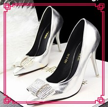 Ladies rhinestones bow decorated high heel pointed toe shoes sexy clsoed toe womens high heels pumps shoes OL shoes in guangzhou
