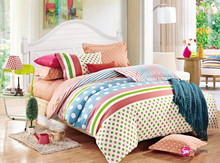 colorful dot pattern european size pure cotton printed bed cover set made in china