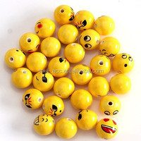 Fashion 15mm Cute Round Shaped Porcelain Beads With Smile Faces Jewelry Spacer Beads Sold By 30 pcs/bag