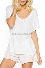 Clothes Women Summer 2015 100% Cotton V-Neck T shirt in White