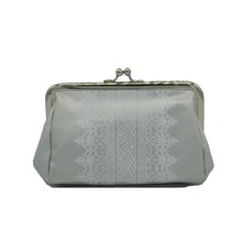 Sliver PU metal frame lady coin purse women wallet