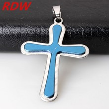 RDW Unique Western Custom Cheap Stainless Steel Cross Pendant For Christians,Bule color cheap Chain Cross Pendant