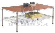 Living Room Furniture, 1 tier Storage Shelving (Rack) Modern Wood integrate Metal Coffee/Tea Tables