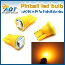 T10 194 Ba9s SMD Pinball LED AC/DC 6.3V amber color light 194SMD-P-1A