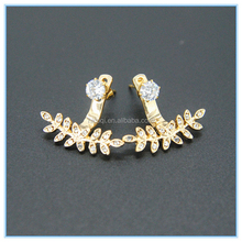 2015 High Quality New Gold Plated Leaf Shape Earrings jacket with zircon