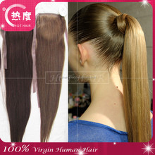 Quality blonde remy human hair drawstring ponytail/ wrap around ponytail hair extensions / hair accessories ponytail hair piece