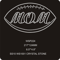 Crystal Rugby Football Sports Design Iron On Rhinestone Wholesale Transfers