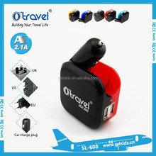 new arrival 2 usb wall and car charger,wall and home charger,dual usb car charger eu plug for ipone