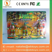 3PCS plastic ninja turtles toy action figure with weapons