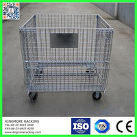 Collapsible mesh box wire cage metal bin storage container