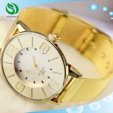 2015 Fashion Woman Gold Watch Gold Strap Big Numbers