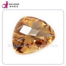 checkerboard faced gemstone fat triangle shape champagne zircon stone