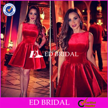 Latest Designs Bateau Neck Ball Gown Short Velvet Red Cocktail Dress 2016