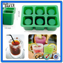 Custom food grade 4 cups silicone ice cup mold, ice cube shot glass freeze ice cup mold