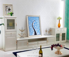 Elegant White Modern Glass and Wooden TV Stand Wall Units