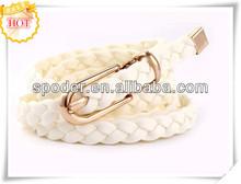 wholesale belt, Nickle free buckle women braided pu leather belts
