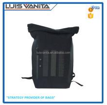 Fashion Design Simple Black Nylon Outdoor Solar Backpack