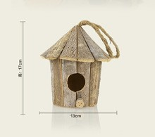 2015 hot selling hanging garden wild outdoor wooden carved bird house from manufacturer