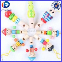 MINI wooden pirate whistle wood toys Colorful Wood Whistle key chain For Kids