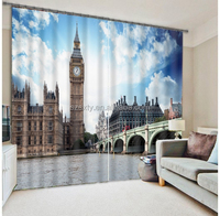 Hottest high Density 100% shading blackout 3D picture digital printing with England Big ben curtain designs